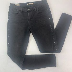 Levis 710 Womens Jeans 31 Black Super Skinny